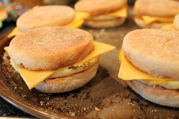 Mornings always in a rush? Make these Breakfast Sandwiches beforehand and freeze. Just heat and serve in the mornings.