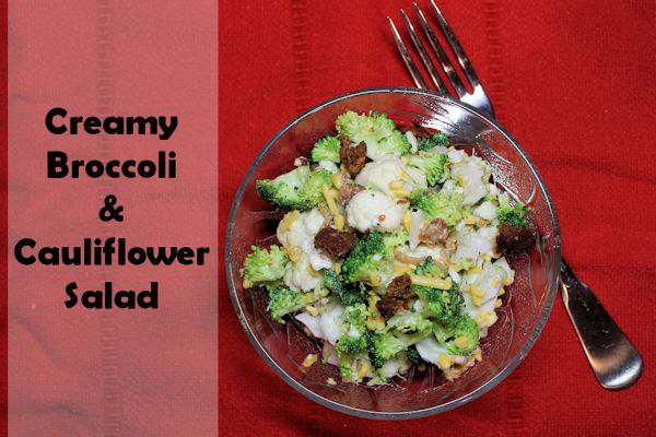 Creamy Broccoli and Cauliflower Salad
