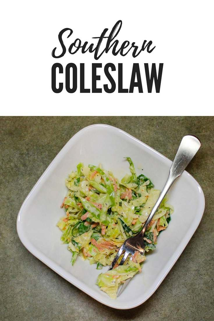Southern Coleslaw is a southern staple for so many meals. Easy to make and serve as a side dish or to top a BBQ sandwich.
