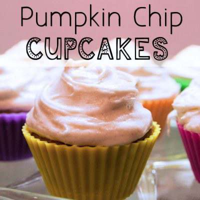 Pumpkin Chip Cupcakes with Cinnamon Cream Cheese Frosting