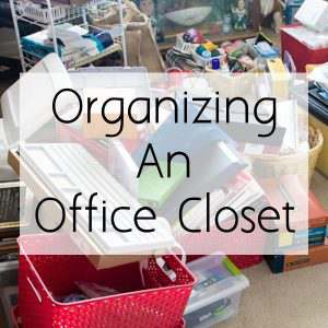 Organize an office closet on a budget and still be pretty! Its easy to do and I will show you how in a few short steps.