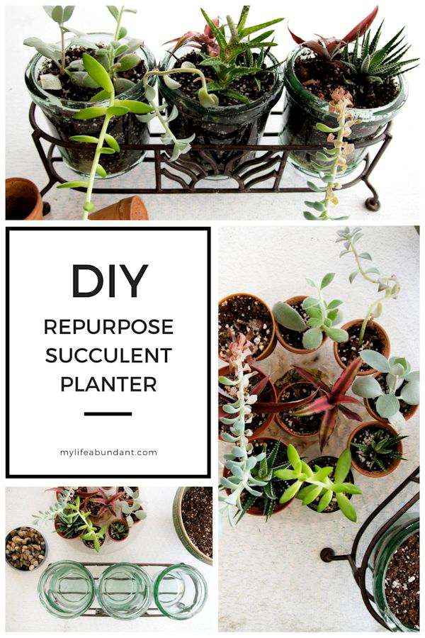 DIY Repurpose Succulent Planter Have an old container around the house?  How about making it into a new planter for some succulents.  Makes a great gift too!