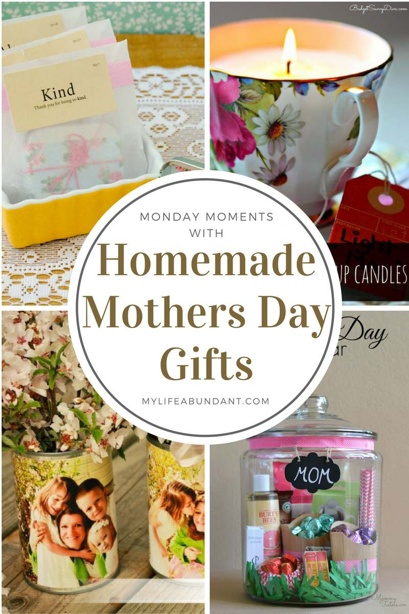 What mother wouldn't love to receive a homemade gift from anyone? Here are a few quick gift ideas to make yourself.