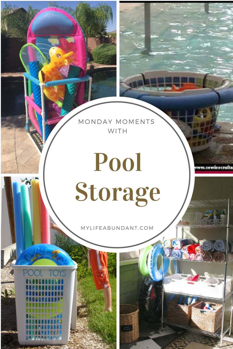 Get all your pool items stored away and keep your pool safe all year long. Several easy ideas to put together.