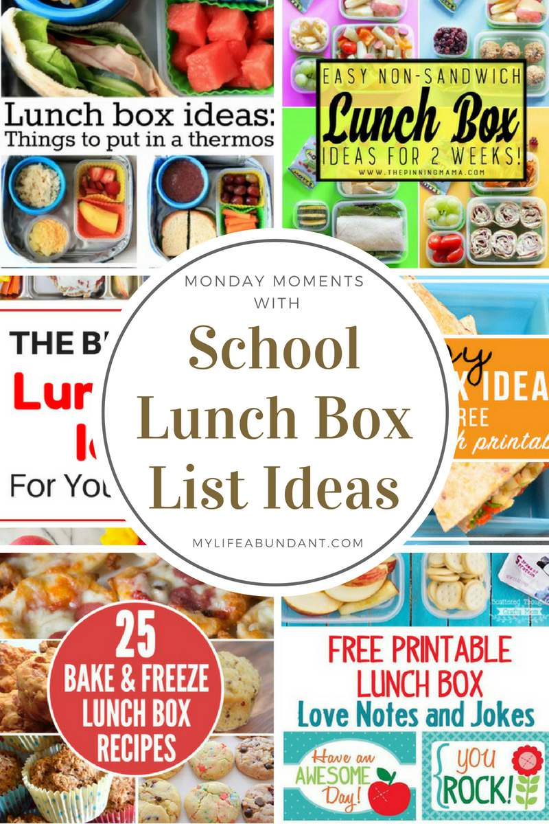 School is in session and do you have any ideas for what to put in your childs lunchbox. Check out 6 different lists of lunch box ideas.