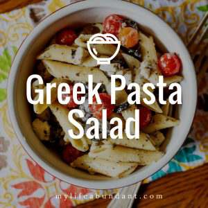 An easy and fresh Greek Pasta Salad perfect for hot summer days. This crowd-pleasing side dish is so good for your next BBQ or backyard party.
