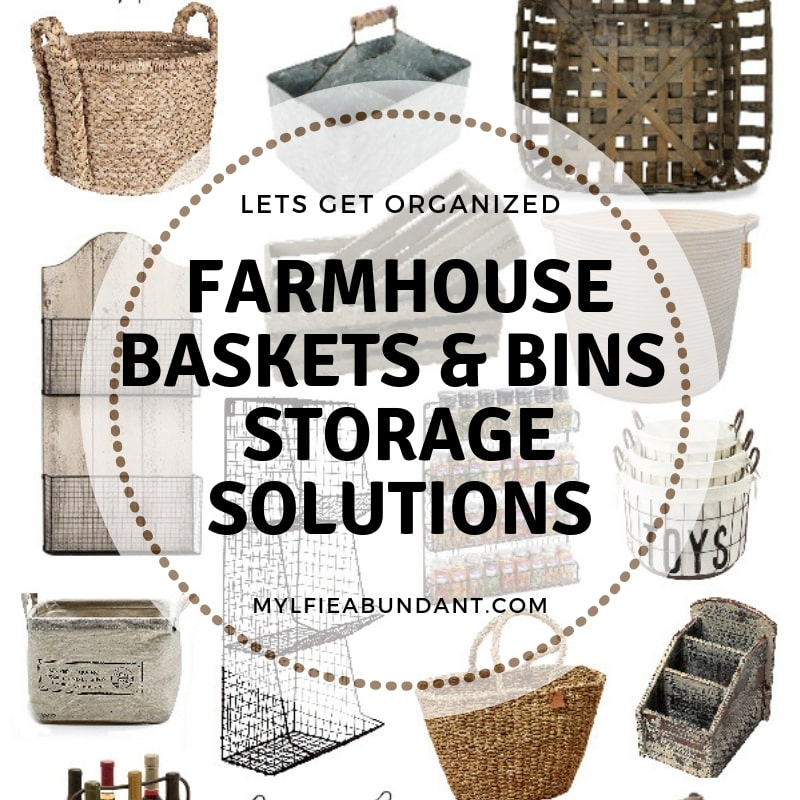 Beautiful, practical and easy to find farmhouse storage baskets and bins.