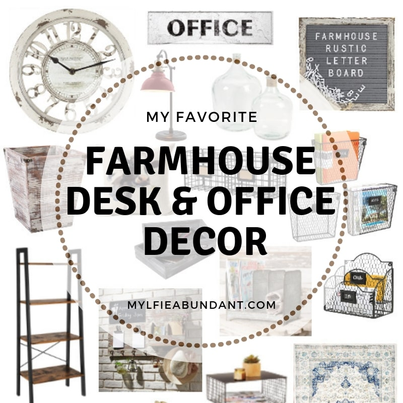 Beautiful, practical and easy to find farmhouse decor for your office.