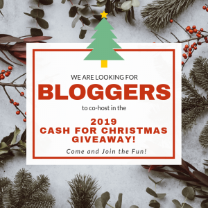 #Bloggers come and sign up to be a Co-Host in the Cash for Christmas giveaway. If you own a website and want to see more traffic, sign up today.