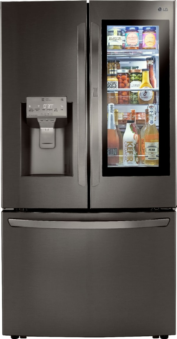 The new LG InstaView will let you see what's in the refrigerator before you open the door.