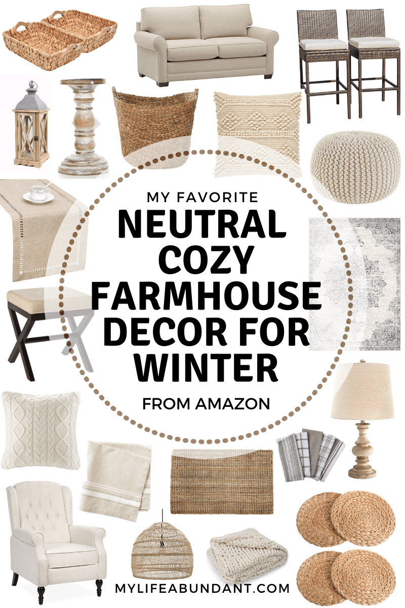 Neutral, warm and cozy farmhouse decor for those cold days during winter time.