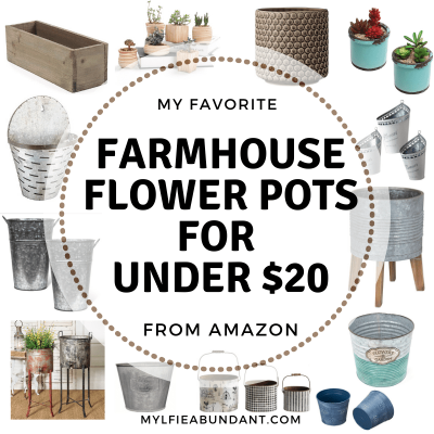 Affordable farmhouse style flower pots will brighten up any porch, patio, deck, or home with your favorite plant.