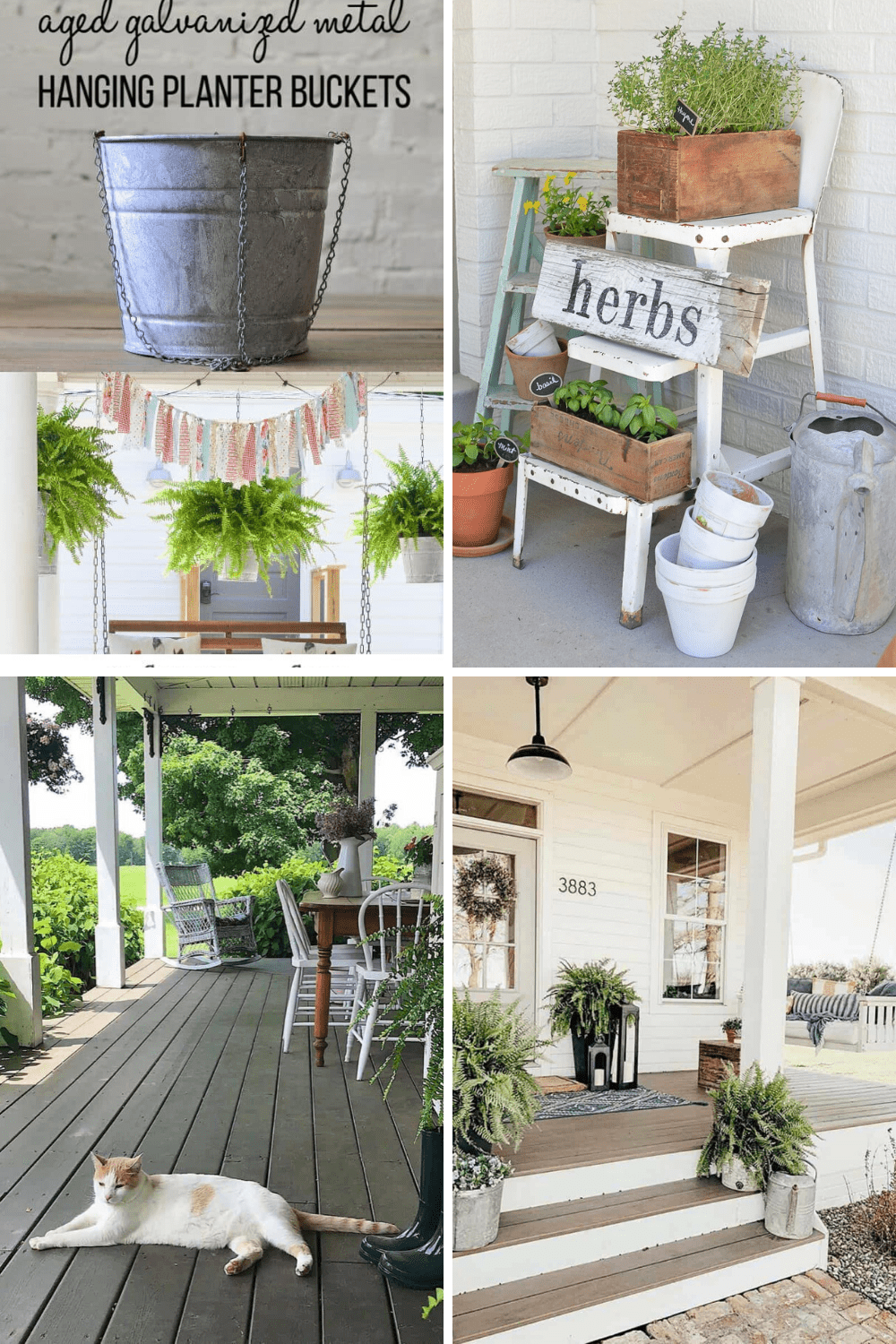 Farmhouse porch or outdoor decorating ideas are just in time for spring, summer or fall enjoyment.