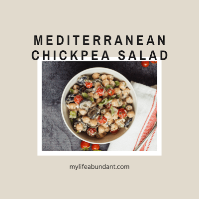 Yummy chickpea salad recipe with a Mediterranean flavor you will want to make over and over! Great healthy lunch or easy side dish that keeps well.